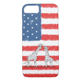USA American Flag Giraffe Conservation Doodle iPhone 8/7 Case