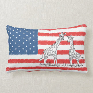 USA American Flag Giraffe Conservation Doodle Lumbar Cushion