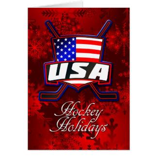 USA American Flag Hockey Christmas Card Greeting Card