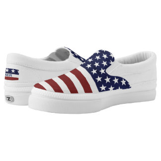 USA American Flag July 4 Monogram Slip-On Sneaker Printed Shoes