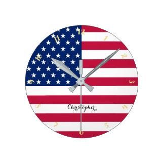 USA American Flag Patriotic Custom Name Room Decor Round Clock