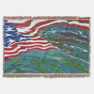 USA American Flag Reflecting Ocean Waves Blanket