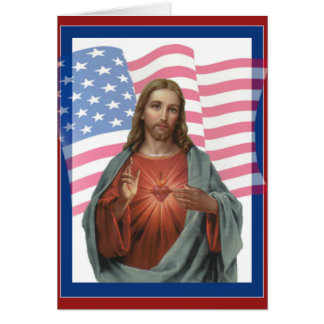 USA AMERICAN FLAG SACRED HEART OF JESUS CARD