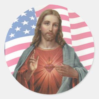 USA AMERICAN FLAG SACRED HEART OF JESUS ROUND STICKER