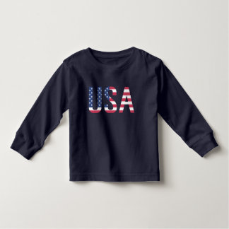 USA American Flag Text White Star Red Blue Stripe Toddler T-Shirt