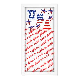 USA American Flag Text with Stars & Stripes Custom Photo Card