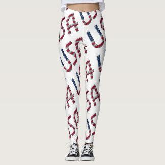 USA American Flag Typography Pattern Leggings
