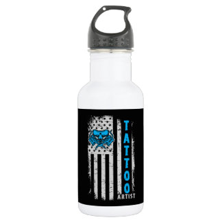 USA American Flag with Tattoo Artist 532 Ml Water Bottle
