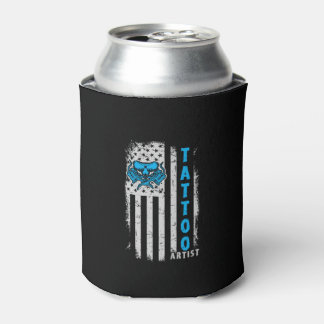 USA American Flag with Tattoo Artist Can Cooler