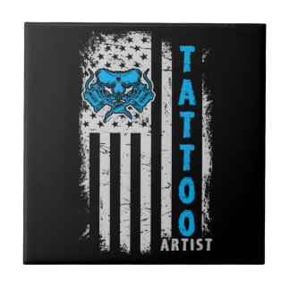 USA American Flag with Tattoo Artist Ceramic Tile