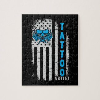 USA American Flag with Tattoo Artist Jigsaw Puzzle