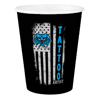 USA American Flag with Tattoo Artist Paper Cup