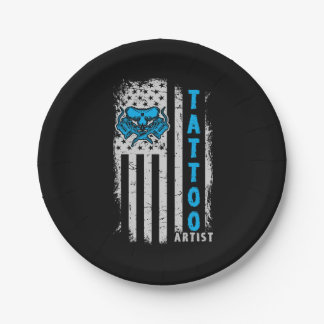 USA American Flag with Tattoo Artist Paper Plate