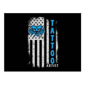 USA American Flag with Tattoo Artist Postcard