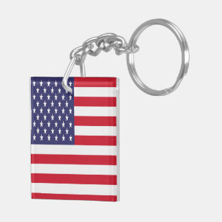 USA American Patriotic United States Double-Sided Square Acrylic Key Ring