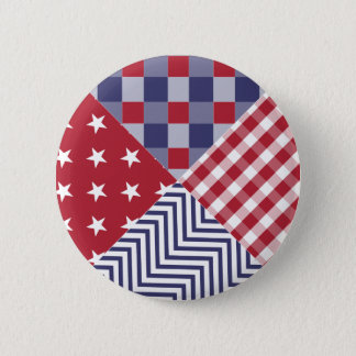USA Americana Diagonal Red White & Blue Quilt 6 Cm Round Badge