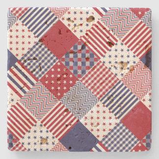 USA Americana Diagonal Red White & Blue Quilt Stone Beverage Coaster