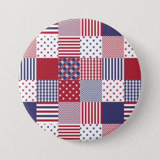 USA Americana Patchwork Red White & Blue 7.5 Cm Round Badge