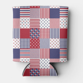 USA Americana Patchwork Red White & Blue Can Cooler