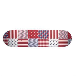 USA Americana Patchwork Red White & Blue Skateboard Decks