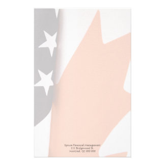 USA and Canada flag portions fade Stationery