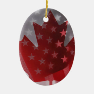 USA and Canada flags oval ornament