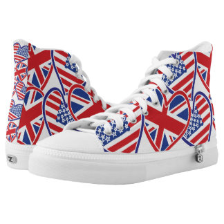 USA and UK Flag Heart Love Flags High Tops