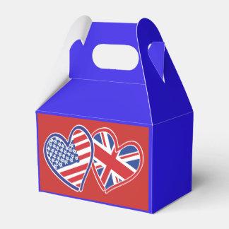 USA and UK Flag Hearts Favour Box