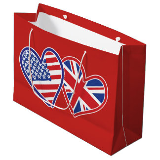 USA and UK Flag Hearts Large Gift Bag