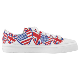 USA and UK Flag Hearts Low Tops
