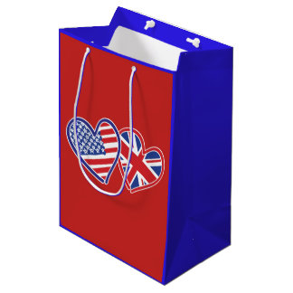 USA and UK Flag Hearts Medium Gift Bag