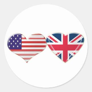 USA and UK Heart Flag Design Round Sticker