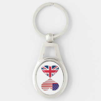 USA and UK Hearts Flags Twisted Metal Key Chain
