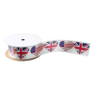 USA and UK Hearts Ribbon Satin Ribbon