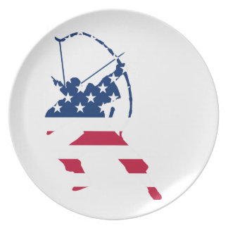 USA Archery American archer flag Plate