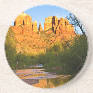 USA, Arizona. Cathedral Rock At Sunset Beverage Coaster