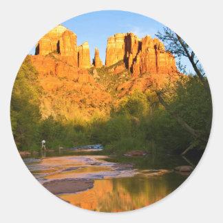 USA, Arizona. Cathedral Rock At Sunset Round Sticker
