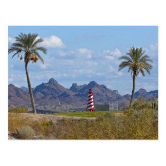 USA, Arizona, Lake Havasu City. Lighthouse next Postcard