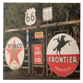 USA, Arizona, Sedona: Antique Advertising Signs Large Square Tile
