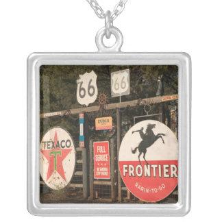 USA, Arizona, Sedona: Antique Advertising Signs Square Pendant Necklace