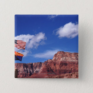 USA, Arizona, Tow flags in Grand Canyon National 15 Cm Square Badge