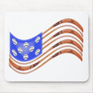 USA Baseball Flag Waving Mouse Pad