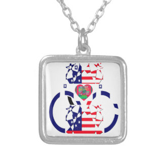 USA Beautiful Amazing Text Lovely Heart colors Art Silver Plated Necklace