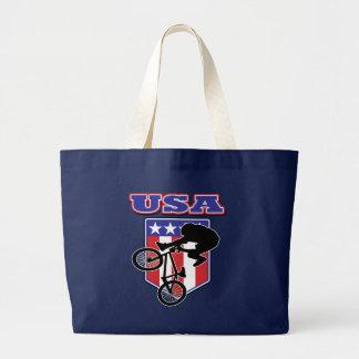 USA BMX Biker Large Tote Bag
