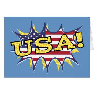 USA Boom Pop Pow flag star burst Card