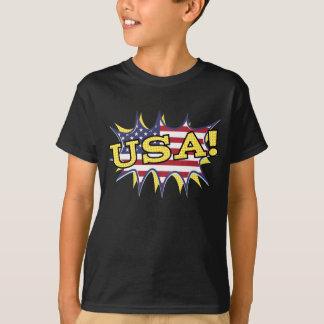 USA Boom Pop Pow flag star burst T-Shirt