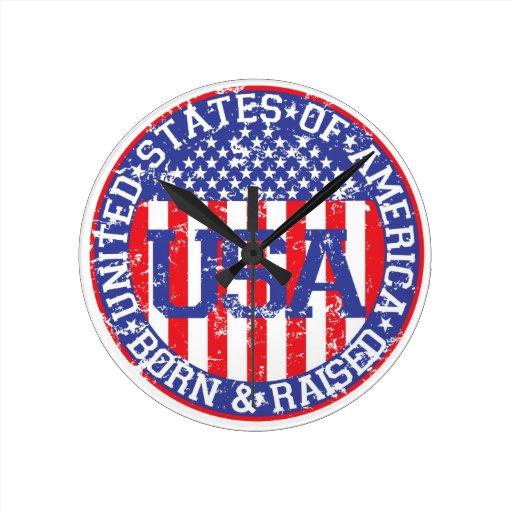 USA Born and Raised Round Wallclock