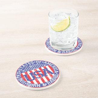 USA Born and Raised Beverage Coaster