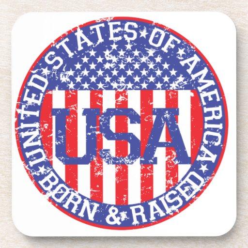 USA Born and Raised Drink Coasters
