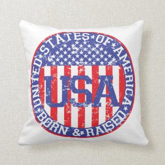 USA Born and Raised Throw Pillow
